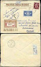BELGIUM 1955 STAMP ILLUSTRATED ENV.PHILATELIC CLUB + TAXE REGISTERED REDIRECTED