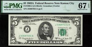 1963a $5 Kansas City Federal Reserve Note FRN • 1968-J • PMG 67 EPQ