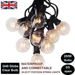 25-50 Hanging Sockets G40 Clear Bulb Waterproof Festoon String Lights Christmas