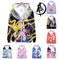 Men Women Casual Coat Cosplay Classic Japan Anime Sailor Moon Hoodie Zip Jacket