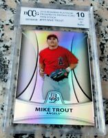 MIKE TROUT 2010 Bowman Platinum REFRACTOR SP Rookie Card RC /999 BGS BCCG 10 HOT