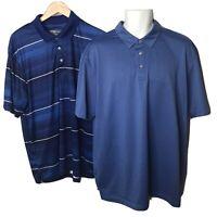 PGA Tour Golf Polo Shirts Mens XL Striped Printed Blue Short Sleeve Air Flux Lot