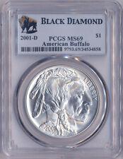 2001 D American Buffalo Silver Dollar PCGS MS69 Black Diamond Holder
