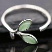 Blattring, 925er Silber grössenverstellbar Halbedelstein Blatt grün Sterling