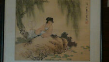 """ANTIQUE CHINESE WATERCOLOR SCROLL PAINTING ON SILK""""YOUNG WOMAN ON POND"""",RED SEAL"""