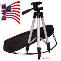 Professional Flexible Aluminum Tripod Black 360° Swivel Fluid Head W/Bag