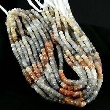 "5 Strands 13"" Natural Multi Moonstone Gemstone Plain Tyre Shape Beads 5-6mm"