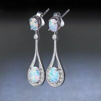 Exquisite 925 Silver Women Jewelry Opal Wedding Party Dangle Drop Earrings