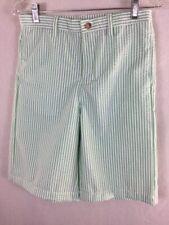 "Kellys Kids Boys Shorts 28"" Waist Size 16 Green Striped Seersucker Golf"