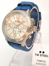 TW Steel watch Chrono Chronograph Armbanduhr Uhr Ø 45 mm Lederband blau NEU 31