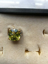 Large -Lime Green/Peridot Color CZ Cocktail/Dinner Ring-Beautiful--Size 6