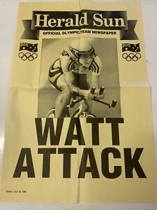 VINTAGE OLYMPICS CATHY WATTS CYCLING BIKE 1996 NEWSPAPER ORIGINAL POSTER