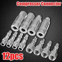 """12Pcs Air Line Hose Compressor Fitting Quick Release Connectors Set 1/4"""" BSP New"""