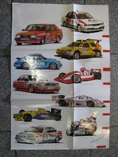 Poster (Playboy) Autosportkalender 1991 (gevouwen) tekeningen Peter Nijpjes