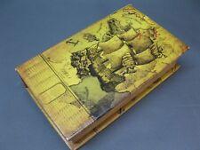 Vintage Caja de Regalo Alhajera 21cm X 13cm Cofre Tesoro Antiguo Barco Vela