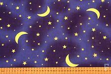 Luna & Estrellas en Azul Marino FONDO-ESTAMPADO POLI TELA DE ALGODÓN