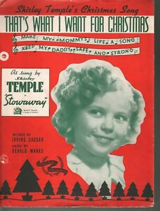 That's What I Want For Christmas 1935 Shirley Temple in Stowaway Sheet Music