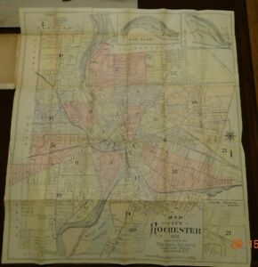 """1906 Rochester New York Colored Pocket Fold Out  Map Drew Atlas Co 22.5"""" x 25"""""""