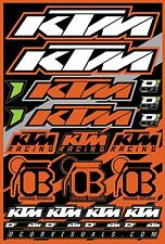 KTM Decal Sheet Thick Vinyl MotoX Dirt Bike Supercross Racing Motocross