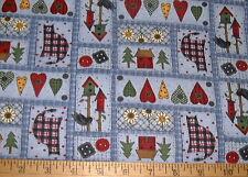 DEBBIE MUMM Fabric - Hearts - Cats - Birdhouses & Buttons Sampler Squares - Blue