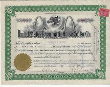 West Virginia 1900, United States Pneumatic Horse Collar Co Stock Certificate