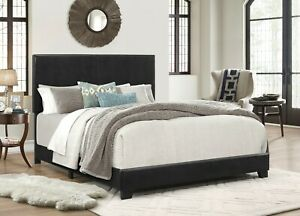 Full Size Bed Frame Platform With Headboard Erin Black Faux leather Upholstered