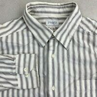 Concepts By Claiborne Button Up Shirt Mens 2XLT White Gray Purple Cotton Striped
