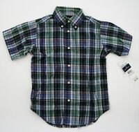 NWT Ralph Lauren Boys Short Sleeve Navy Plaid Button Down Shirt Sz 4 6 NEW $35