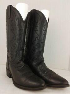 VINTAGE DAN POST BLACK LEATHER WESTERN COWBOY BOOTS SIZE WOMENS SIZE 10 D