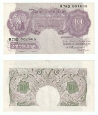 Bank of England 10 Shillings Banknote (1940) WWII - aEF.
