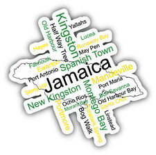 Jamaica Cities Map Car Bumper Sticker Decal 5'' x 5''