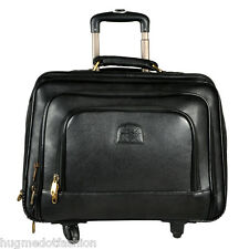 Laptop Trolley Overnight 4 Wheel Genuine Leather Travel Executive Briefcase bag