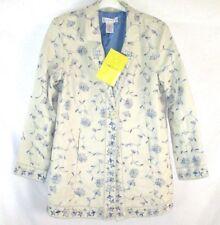 Susan Graver Women Coat Sz Large Ivory Blue Floral Linen Blend Winter BB150 NWT