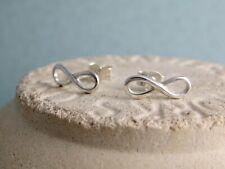 Small Sterling Silver Infinity Ear Stud Earrings - Handmade By CMcB Jewellery UK