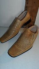 Size 42 Light Tan Slip on Casual Punched & Perforated Shoes by Dalao. Brand New