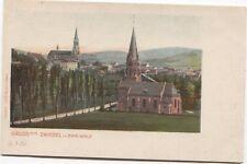 uralte Ansichtskarte Gruß aus ZWIESEL Bayerischer Wald um 1900 2 Kirchen