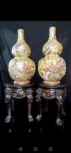 Pair of Antique Japanese Satsuma double gourd vases Meiji period circa 1870-1910