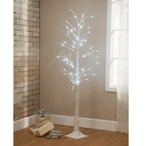 6 Foot Lighted White Birch Tree Christmas Decoration w/ 72 LED Lights