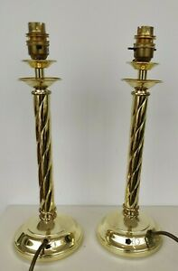 Pair Impressive Twisted Brass Candlestick Style Table Lamps - each weighs 1kg