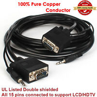 SVGA Super VGA M Male to Male 1080P Cable with 3.5mm Stereo Audio for Monitor TV