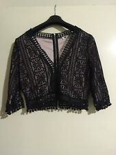 Temt Black Lace 3/4 sleeve top NWT