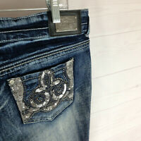 VANITY womens 31 x 29 blue faded dark wash RIPPED sequin EMBELLISHED flare jeans