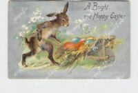 PPC POSTCARD EASTER ANTHROPOMORPHIC RABBIT PUSHING WHEELBARROW FULL OF EGGS EMBO