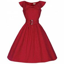 LINDY BOP NEW VINTAGE 50'S STYLE HETTY RED POLKA ROCKABILLY PARTY DRESS SIZE 14