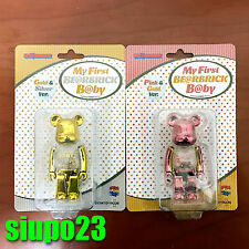 Medicom 100% Bearbrick ~ My First Baby Be@rbrick Pink Gold Silver 2pcs