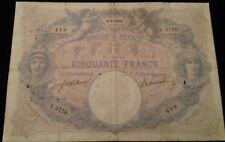 """Série:V.3776"""".50frs BLEU ET ROSE 6.8.1910 type1889 série V.3776..1910"""