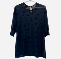 City Chic Womens Black Semi See-Through 3/4 Sleeve Blouse Size XS