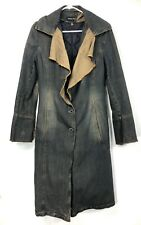 Patrizia Pepe Firenze Women's 40 Denim Trench Coat Long Jacket Quilted Lining