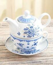 3-Pc Blue Floral Porcelain Tea For One Set Tea Pot Tea Cup Saucer Flower Pattern