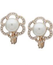 Anne Klein Gold Tone Clear Crystal White Bead EZ Comfort Clip Earrings E036